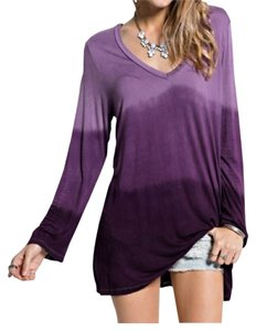Easel Long Sleeve Tunic Ombre Top Purple