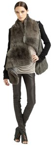 Helmut Lang New Without Tag Asymmetric Rabbit And Nappa-leather Jacket