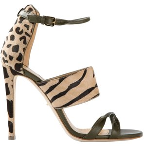 Sergio Rossi Leather Pony Heels Ankle Strap Animal Leopard Print Sandals