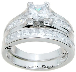 Classy Princess Cut Solid . 925 Sterling Silver Ring Set
