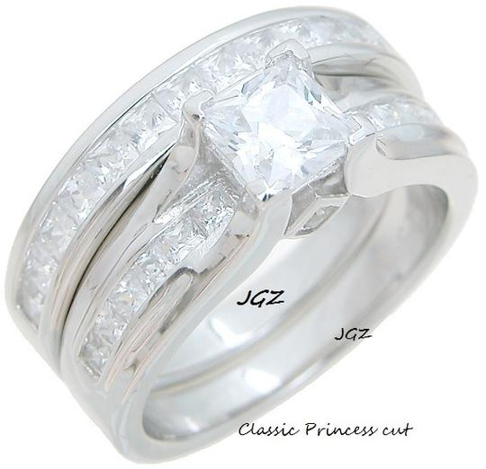 Solid .925 Sterling Silver Classy Princess Cut Set Ring