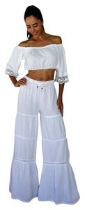 Lirome Boho Nautical Summer Resort Organic Flare Pants White