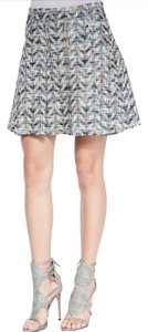 10 Crosby Derek Lam Mini Tweed Pleated Mini Skirt Black Blue White