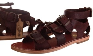 H by Hudson Gladiator Leather Brown Sandals