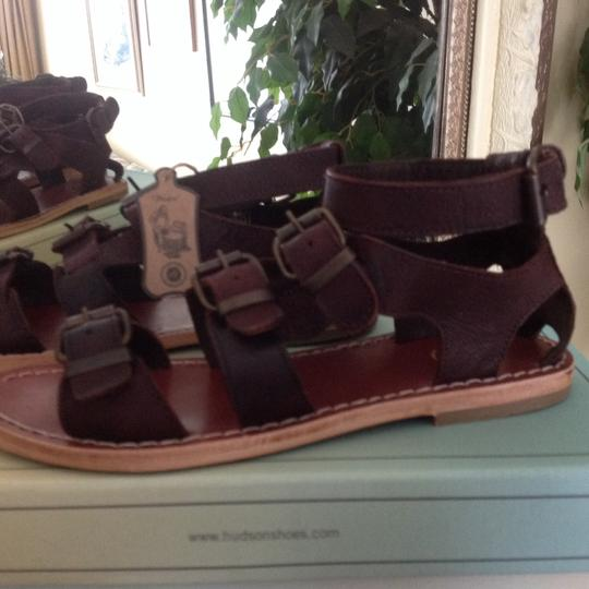 H by Hudson Gladiator Leather Brown Sandals Image 2