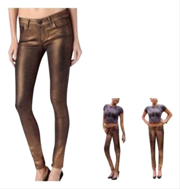 Item - Copper Crackle Verdugo Ultra Skinny Jeans Size 28 (4, S)