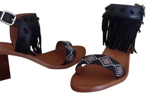 Ash Leather Fringed Beaded Heel Tan/Black Sandals