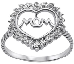 9.2.5 Very nice white sapphire silver mom heart ring. Size 7