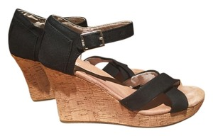 8e55ce860d5 TOMS Canvas Sandals Strappy Sandals Open Toe Cork Summer Spring Sandals  Black Wedges