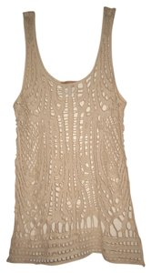 Body Central Cotton Knit Crochet Top Neutral