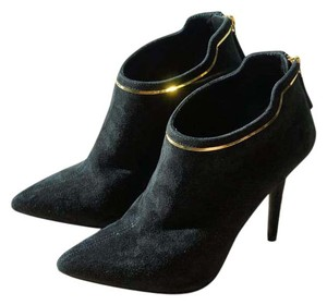 Giuseppe Zanotti Pointed Toe Suede Leather Gold Black Boots