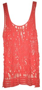 Body Central Crochet Cotton Knit Top Coral