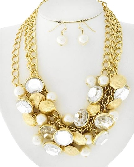 Unknown Gold Tone Chain Charm Cluster Necklace Set