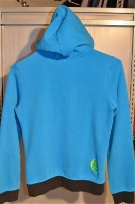 "Volcom Zippered Size Xs W/ Lime Green/black & Black/white Polka Dot Inside Hood 18"" Underarm To Underarm (laying Flat) Sweatshirt"