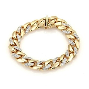 Diamonds 14k Two Tone Gold 12mm Wide Thick Curb Link Bracelet 7.5 Long