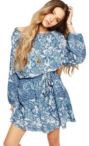 Free People short dress Washed Blue on Tradesy
