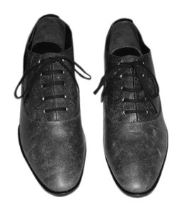 Alexander Wang Ingrid Distressed Finish Sophisticated Lace Up Oxford Black Flats