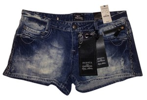 Express Rerock Denim Jeans Mini/Short Shorts Stonewashed