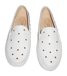Tod's Studded Made In Italy White Flats