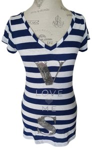 Victoria's Secret Victoria T Shirt Navy blue and white