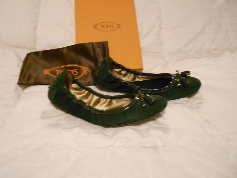 Tod's Forrest Suede Flats Green Ballerina w4rqwxTg