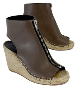 Cline Brown Leather Espadrille Wedges