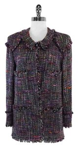 Chanel Purple Pink Tweed Fringe Jacket