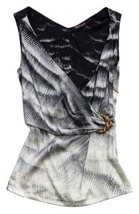 Roberto Cavalli Grey Silk Print Sleeveless Top