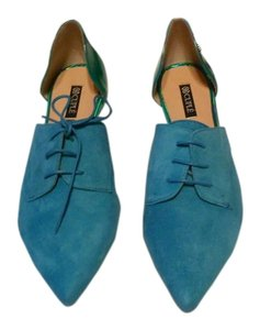 Cuple' 89037 Iridescent Heel Cup Suede Toe Box Lace Up Design Made In Spain Turquoise Flats