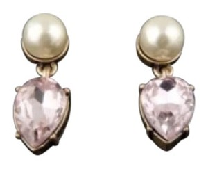 J.Crew J Crew Pink Crystal Earrings w/ Faux Pearl