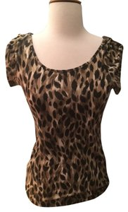 Kardashian Kollection Woman's Roll-up Cap Sleeves Top Leopard Print