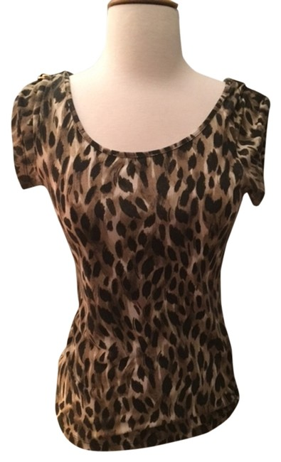 Kardashian Kollection Woman's Roll-up Cap Sleeves Top Leopard Print Image 0
