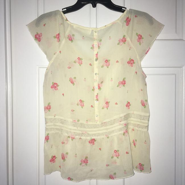 Abercrombie & Fitch Top Cream w/pink flowers Image 2