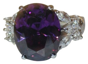 Other Genuine 925 Sterling Silver Lab Amethyst with Clear CZ Accents Available Size 5 6 7 8 9 10