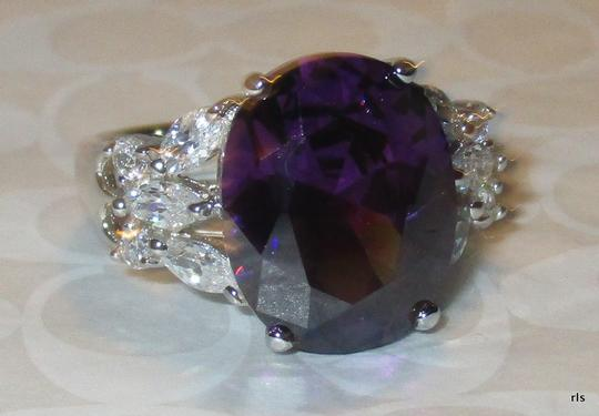 Other Genuine 925 Sterling Silver Lab Amethyst with Clear CZ Accents Available Size 5 6 7 8 9 10 Image 1