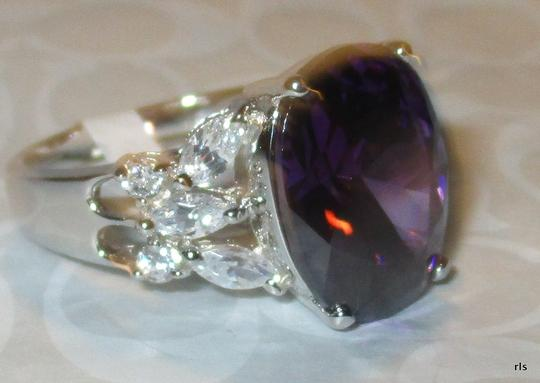 Other Genuine 925 Sterling Silver Lab Amethyst with Clear CZ Accents Available Size 5 6 7 8 9 10 Image 2
