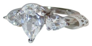 Other Genuine 925 Sterling Silver 3 Stone Pear Cut Simulated Diamond Available Size 5 6 7 8 9 10
