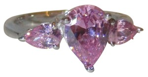 Genuine 925 Sterling Silver 3 Stone Pear Cut Pink Topaz Ring Available Size 5 6 7 8 9 10
