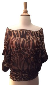 Express Through Fitted Loose Top Leopard