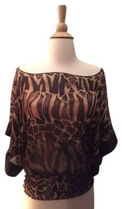 Express See Through Fitted Loose Top Leopard