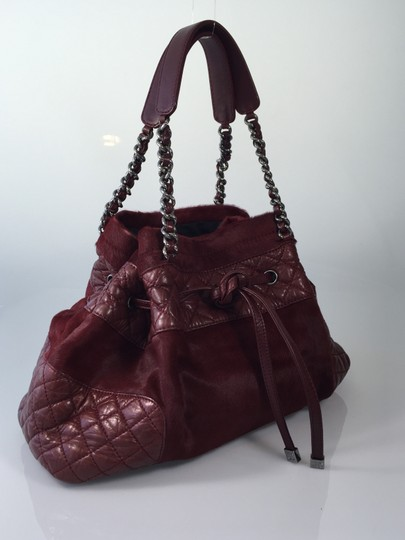 Chanel Pony Hair Quilted Calfskin Tote in Burgundy