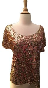 Express See Through Sequin Top Gold