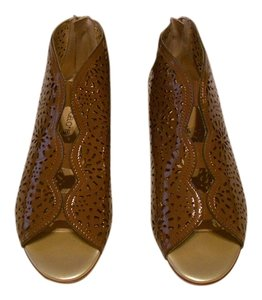Other 55257 Open Toe Detailed Lattice Cut Out Made In Italy Brown Boots