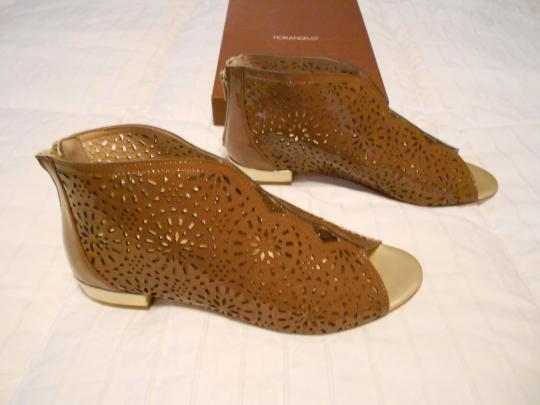 Other Lattice Cut Out Open Toe Made In Italy Brown Boots Image 1