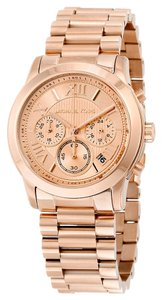 Michael Kors Stainless Steel Rose Gold Finish Designer Casual Watch