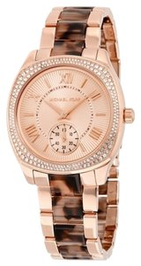 Michael Kors Rose Gold Tortoise Shell Crystal Pace Bezel Designer Dress Ladies Watch
