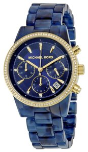 Michael Kors Navy Blue Acetate Gold tone and Crystal Bezel Designer Casual Ladies Watch