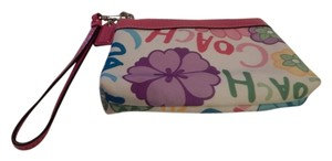 Coach Wristlet in white with pink leather trim and logo