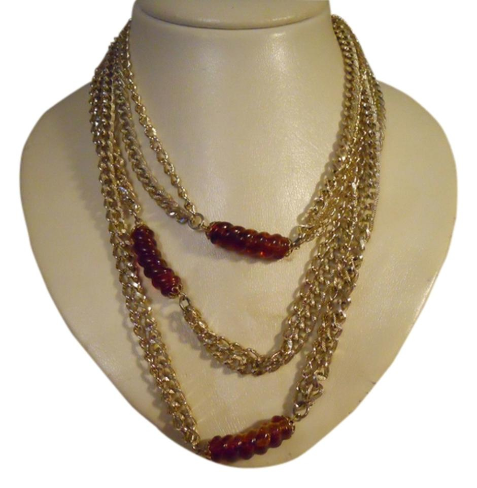 b9d517cdda3 Sarah Coventry Gold   Amber Vintage Extra Long Double Chain Necklace ...