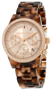 Michael Kors Tortoise Shell Acetate Rose Gold Crystal Pave Designer Ladies watch